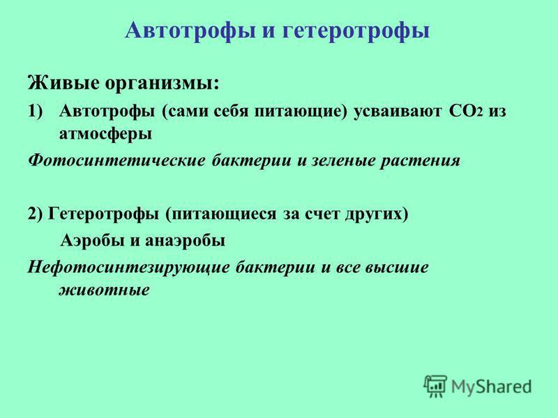 Автотрофы и гетеротрофы Живые организмы: 1)Автотрофы (сами себя питающие) усваивают СО 2 из атмосферы Фотосинтетические бактерии и зеленые растения 2) Гетеротрофы (питающиеся за счет других) Аэробы и анаэробы Нефотосинтезирующие бактерии и все высшие