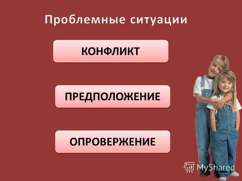 КОНФЛИКТ ПРЕДПОЛОЖЕНИЕ ОПРОВЕРЖЕНИЕ