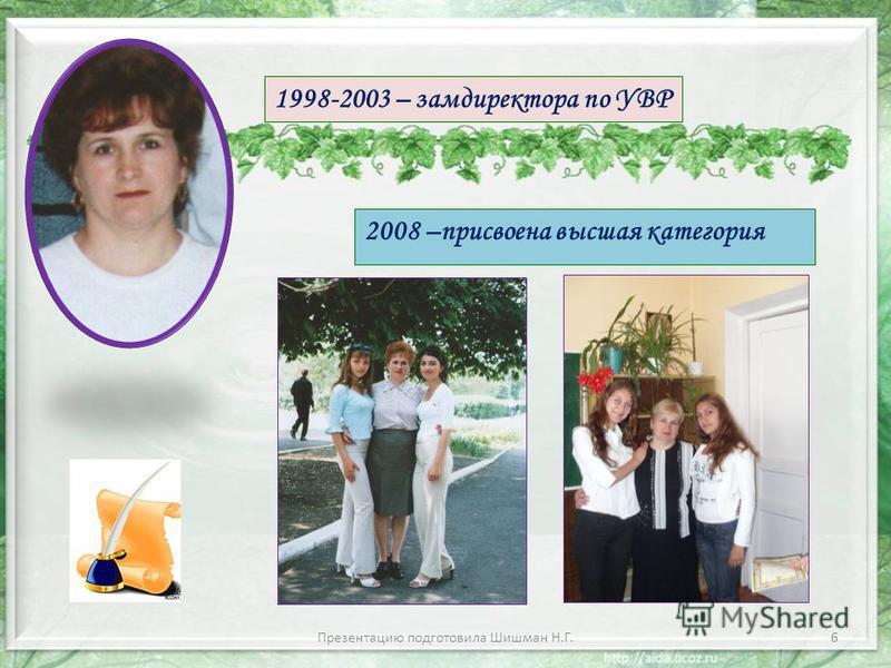 2008 –присвоена высшая категория 1998-2003 – замдиректора по УВР 6Презентацию подготовила Шишман Н.Г.