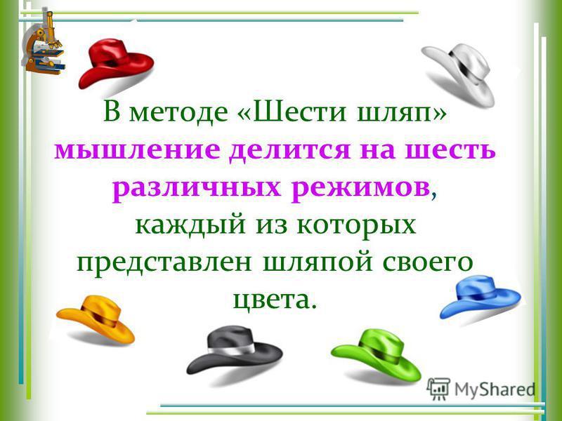 В методе «Шести шляп» мышление делится на шесть различных режимов, каждый из которых представлен шляпой своего цвета.