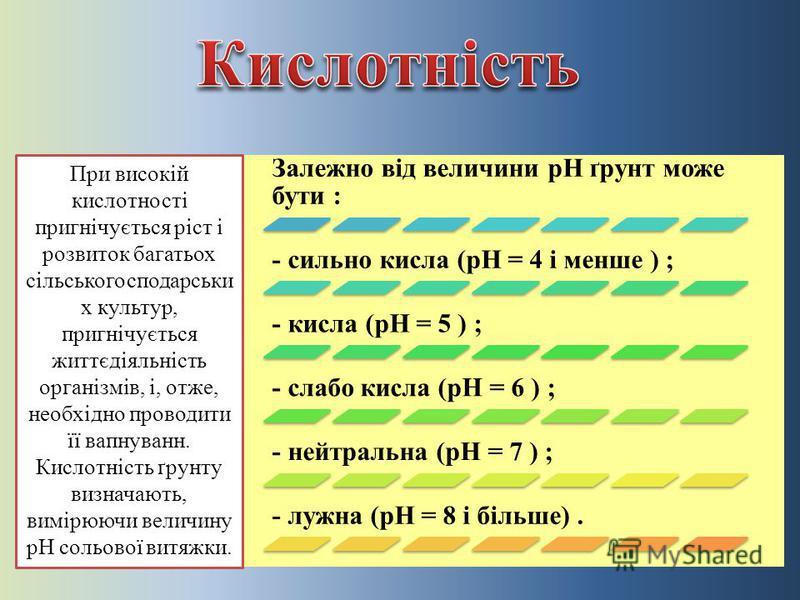 Залежно від величини рН ґрунт може бути : - сильно кисла (рН = 4 і менше ) ; - кисла (рН = 5 ) ; - слабо кисла (рН = 6 ) ; - нейтральна (рН = 7 ) ; - лужна (рН = 8 і більше). При високій кислотності пригнічується ріст і розвиток багатьох сільськогосп