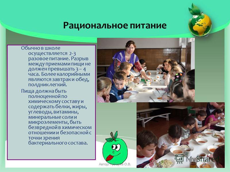 Рациональное питание Обычно в школе осуществляется 2-3 разовое питание. Разрыв между приемами пищи не должен превышать 3 – 4 часа. Более калорийными являются завтрак и обед, полдник легкий. Пища должна быть полноценной по химическому составу и содерж