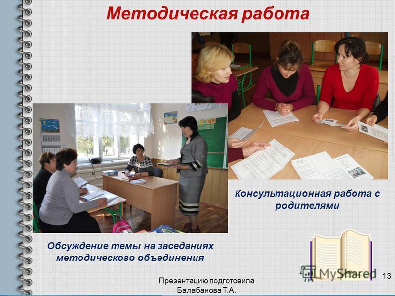 Методическая работа Обсуждение темы на заседаниях методического объединения Презентацию подготовила Балабанова Т.А. 13 Консультационная работа с родителями