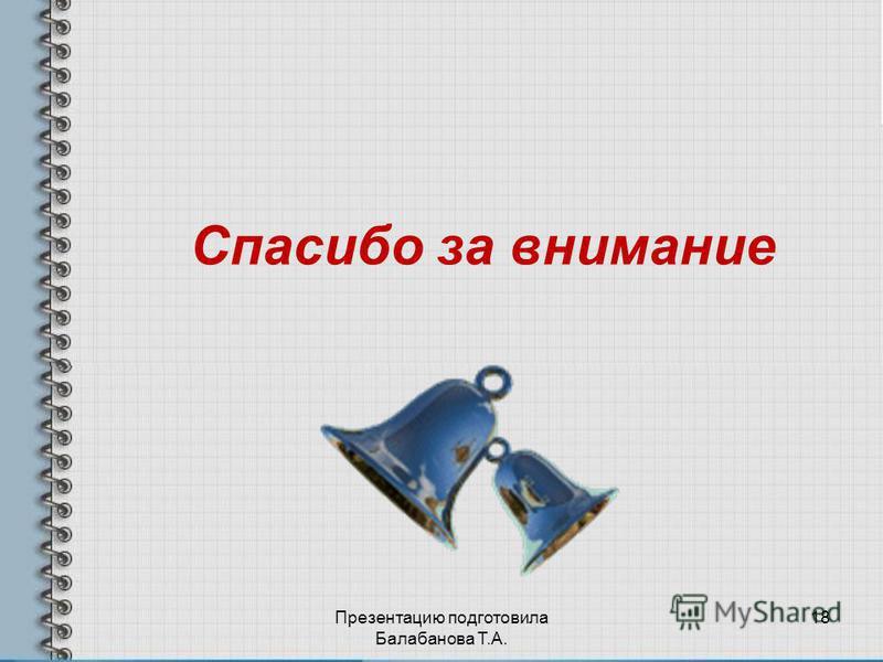 Спасибо за внимание Презентацию подготовила Балабанова Т.А. 18