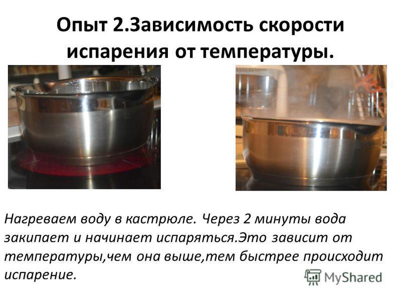 Опыт 2. Зависимость скорости испарения от температуры. Нагреваем воду в кастрюле. Через 2 минуты вода закипает и начинает испаряться.Это зависит от температуры,чем она выше,тем быстрее происходит испарение.