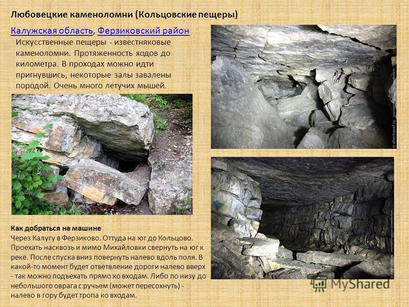 Искусственные пещеры - известняковые каменоломни. Протяженность ходов до километра. В проходах можно идти пригнувшись, некоторые залы завалены породой. Очень много летучих мышей. Входов много. Как добраться на машине Через Калугу в Ферзиково. Оттуда