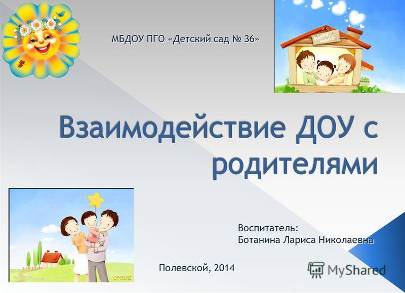 МБДОУ ПГО «Детский сад 36» Полевской, 2014 Воспитатель: Ботанина Лариса Николаевна