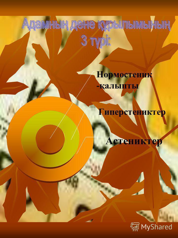 Нормостеник -қалыпты Гиперстениктер Астениктер