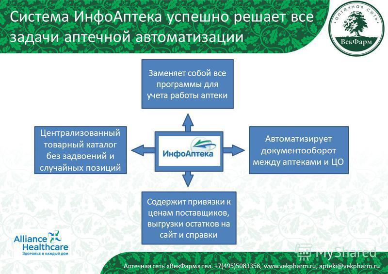 Аптечная сеть «Век Фарм» тел. +7(495)5083358, www.vekpharm.ru, apteki@vekpharm.ru Система Инфо Аптека успешно решает все задачи аптечной автоматизации Автоматизирует документооборот между аптеками и ЦО Заменяет собой все программы для учета работы ап