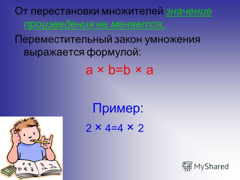 От перестановки множителей значение произведения не меняется. Переместительный закон умножения выражается формулой: a × b=b × a Пример: 2 × 4=4 × 2