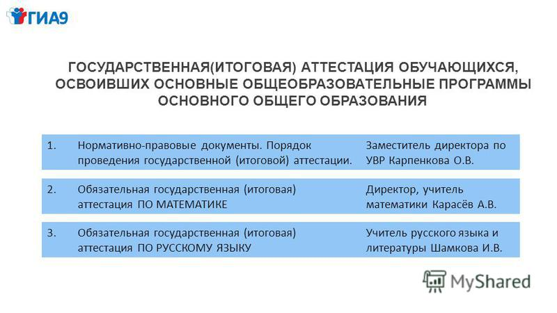 ГОСУДАРСТВЕННАЯ(ИТОГОВАЯ) АТТЕСТАЦИЯ ОБУЧАЮЩИХСЯ, ОСВОИВШИХ ОСНОВНЫЕ ОБЩЕОБРАЗОВАТЕЛЬНЫЕ ПРОГРАММЫ ОСНОВНОГО ОБЩЕГО ОБРАЗОВАНИЯ 1.Нормативно-правовые документы. Порядок проведения государственной (итоговой) аттестации. Заместитель директора по УВР Ка
