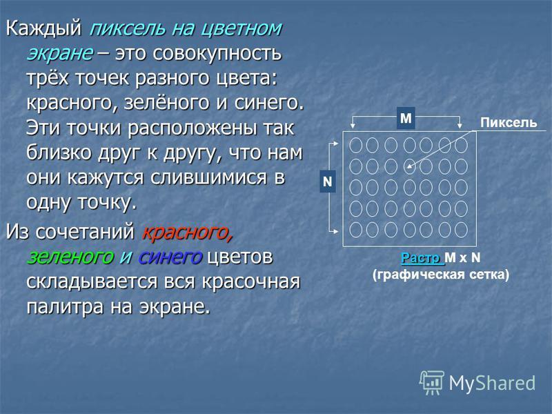 Размер графической сетки обычно представляется в форме произведения числа точек в горизонтальной строке на число строк: M x N. На современных мониторах используются, например, такие размеры графической сетки: 640 x 480; 1024 x 768; 1280 x 1024. Разме