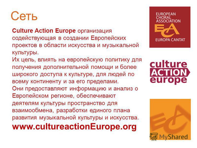 Culture Action Europe организация содействующая в создании Европейских проектов в области искусства и музыкальной культуры. Их цель, влиять на европейскую политику для получения дополнительной помощи и более широкого доступа к культуре, для людей по