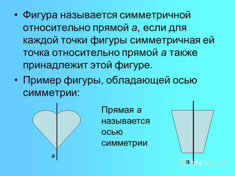 Фигура называется симметричной относительно прямой а, если для каждой точки фигуры симметричная ей точка относительно прямой а также принадлежит этой фигуре. Пример фигуры, обладающей осью симметрии: а Прямая а называется осью симметрии