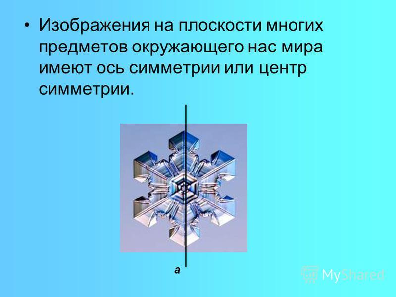 Изображения на плоскости многих предметов окружающего нас мира имеют ось симметрии или центр симметрии. а