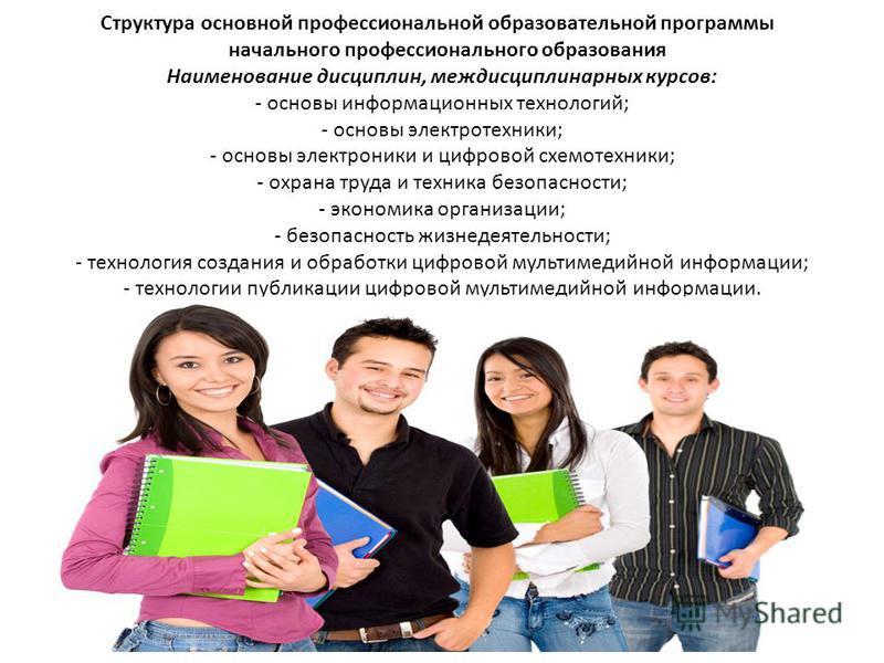 Структура основной профессиональной образовательной программы начального профессионального образования Наименование дисциплин, междисциплинарных курсов: - основы информационных технологий; - основы электротехники; - основы электроники и цифровой схем