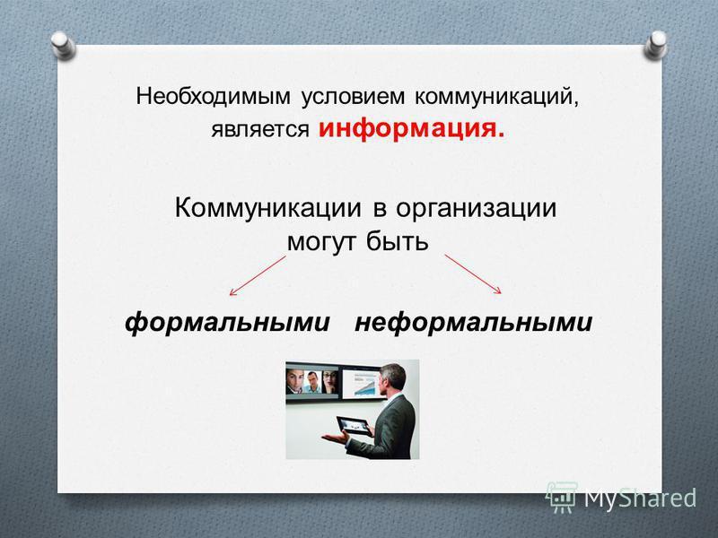 Необходимым условием коммуникаций, является информация. Коммуникации в организации могут быть формальными неформальными