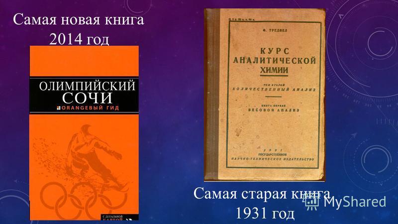 Самая новая книга 2014 год Самая старая книга 1931 год