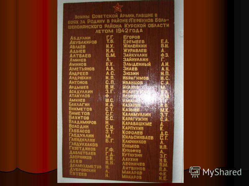 А в музее памятные доски увековечили имена этих воинов.