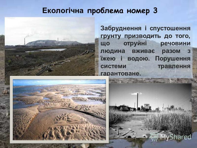 Екологічна проблема номер 3 Забруднення і спустошення грунту призводить до того, що отруйні речовини людина вживає разом з їжею і водою. Порушення системи травлення гарантоване.