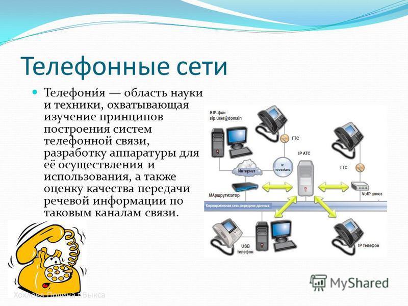 Телефонные сети Телефони́я область науки и техники, охватывающая изучение принципов построения систем телефонной связи, разработку аппаратуры для её осуществления и использования, а также оценку качества передачи речевой информации по таковым каналам