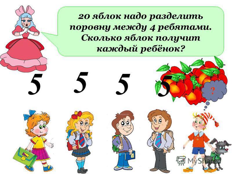 20 яблок надо разделить поровну между 4 ребятами. Сколько яблок получит каждый ребёнок? 5 5 5 5 ?