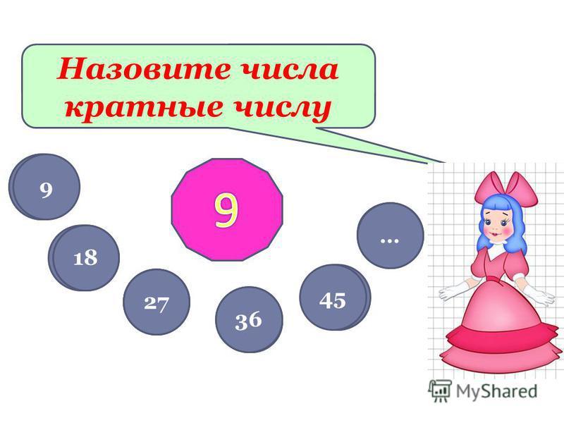 Назовите числа кратные числу 10 20 30 40 50 … 5 10 15 20 25 … 9 18 27 36 45 …