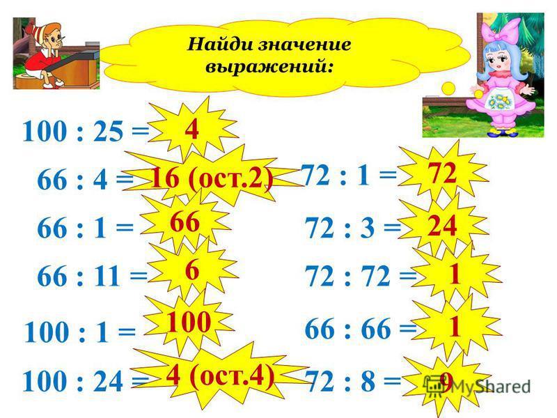 100 : 25 = 66 : 4 = 66 : 1 = 66 : 11 = 100 : 1 = 100 : 24 = 72 : 1 = 72 : 3 = 72 : 72 = 66 : 66 = 72 : 8 = 4 16 (ост.2) 66 6 100 4 (ост.4) 72 24 1 1 9 Найди значение выражений: