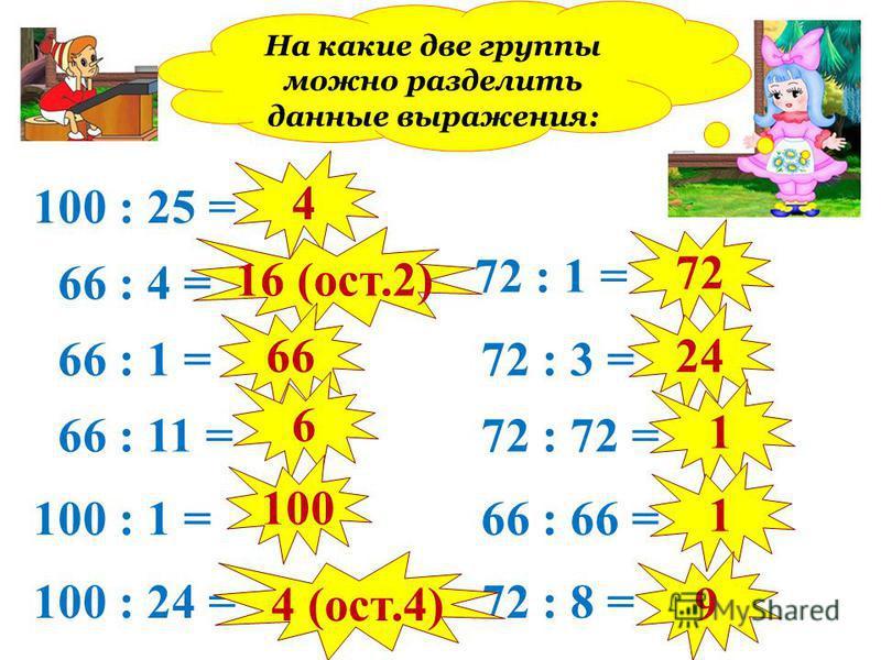 100 : 25 = 66 : 4 = 66 : 1 = 66 : 11 = 100 : 1 = 100 : 24 = 72 : 1 = 72 : 3 = 72 : 72 = 66 : 66 = 72 : 8 = 4 16 (ост.2) 66 6 100 4 (ост.4) 72 24 1 1 9 На какие две группы можно разделить данные выражения: