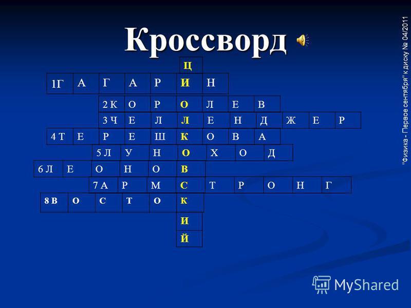 Кроссворд 1Г АГАРИН 2 КОРОЛЕВ 3 ЧЕЛЛЕНДЖЕР 4 ТЕРЕШКОВА 5 ЛУНОХОД 6 ЛЕОНОВ 7 АРМСТРОНГ 8 ВОСТОК Ц И Й