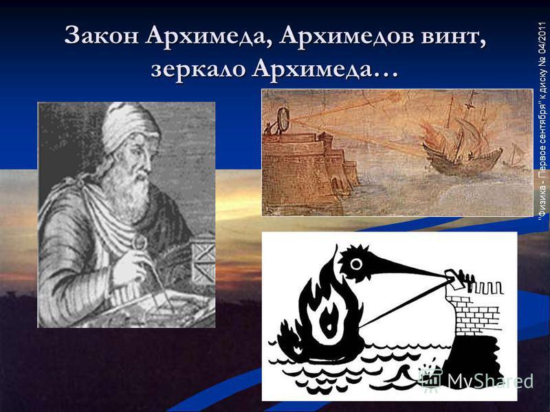 Закон Архимеда, Архимедов винт, зеркало Архимеда…