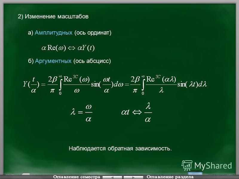 а) Амплитудных (ось ординат) 2) Изменение масштабов б) Аргументных (ось абсцисс) Наблюдается обратная зависимость.