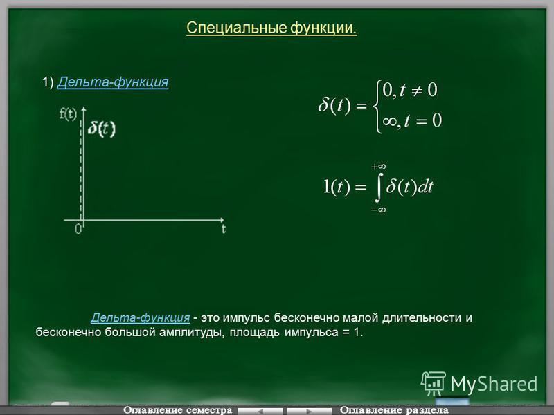 Специальные функции. 1) Дельта-функция Дельта-функция - это импульс бесконечно малой длительности и бесконечно большой амплитуды, площадь импульса = 1.