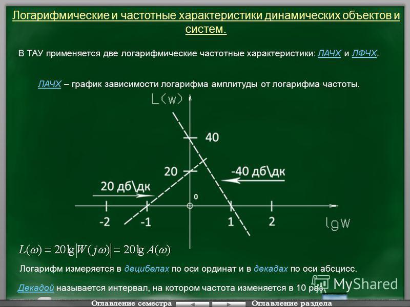 Логарифмические и частотные характеристики динамических объектов и систем. В ТАУ применяется две логарифмические частотные характеристики: ЛАЧХ и ЛФЧХ. ЛАЧХ – график зависимости логарифма амплитуды от логарифма частоты. Логарифм измеряется в децибела