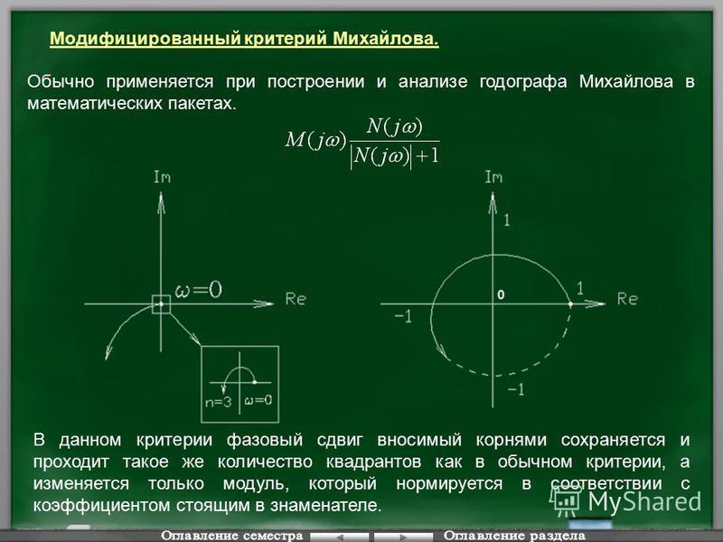 Модифицированный критерий Михайлова. Обычно применяется при построении и анализе годографа Михайлова в математических пакетах. В данном критерии фазовый сдвиг вносимый корнями сохраняется и проходит такое же количество квадрантов как в обычном критер