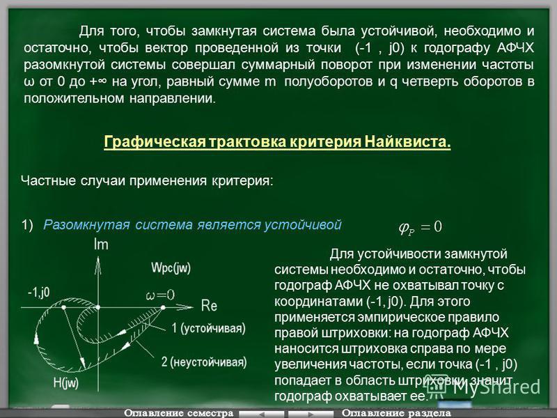 Для того, чтобы замкнутая система была устойчивой, необходимо и остаточно, чтобы вектор проведенной из точки (-1, j0) к годографу АФЧХ разомкнутой системы совершал суммарный поворот при изменении частоты ω от 0 до + на угол, равный сумме m полуоборот