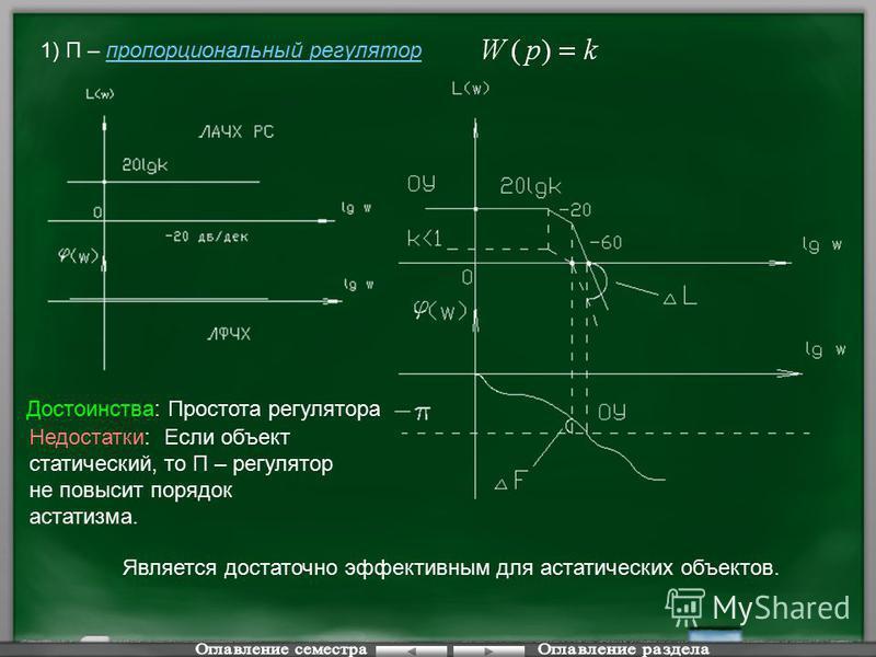 1) П – пропорциональный регулятор Достоинства: Простота регулятора Недостатки: Если объект статический, то П – регулятор не повысит порядок астатизма. Является достаточно эффективным для астатических объектов.