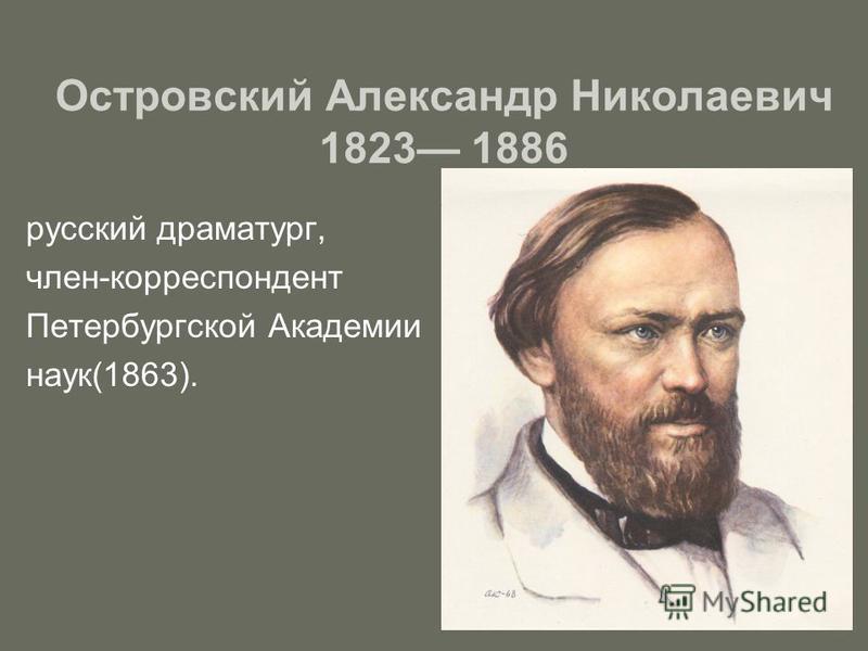 Островский Александр Николаевич 1823 1886 русский драматург, член-корреспондент Петербургской Академии наук(1863).
