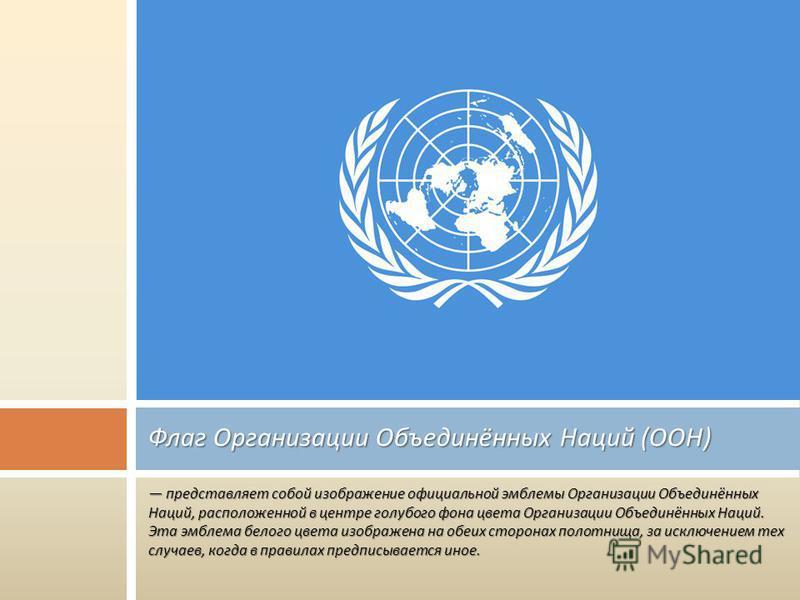 представляет собой изображение официальной эмблемы Организации Объединённых Наций, расположенной в центре голубого фона цвета Организации Объединённых Наций. Эта эмблема белого цвета изображена на обеих сторонах полотнища, за исключением тех случаев,