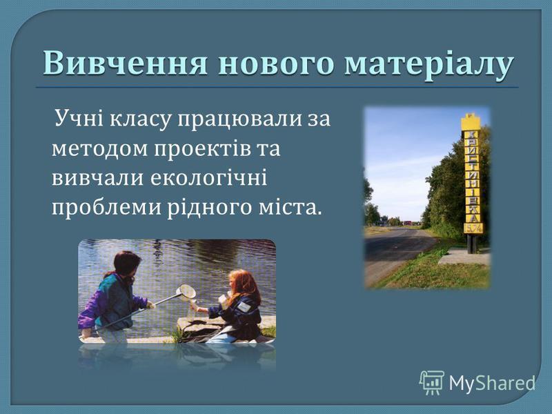 Учні класу працювали за методом проектів та вивчали екологічні проблеми рідного міста.
