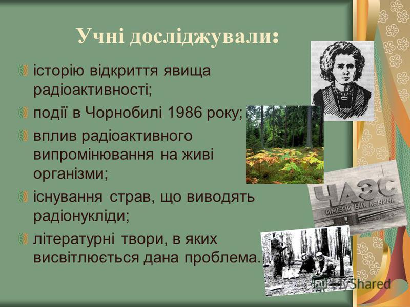 Учні досліджували : історію відкриття явища радіоактивності; події в Чорнобилі 1986 року; вплив радіоактивного випромінювання на живі організми; існування страв, що виводять радіонукліди; літературні твори, в яких висвітлюється дана проблема.