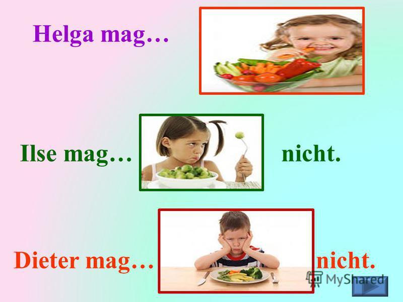 Helga mag… Ilse mag…nicht. Dieter mag…nicht.