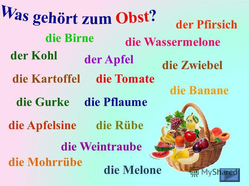 die Tomate die Birne die Kartoffel die Zwiebel der Apfel die Banane der Kohl der Pfirsich die Weintraube die Pflaume die Apfelsine die Gurke die Wassermelone die Mohrrübe die Rübe die Melone