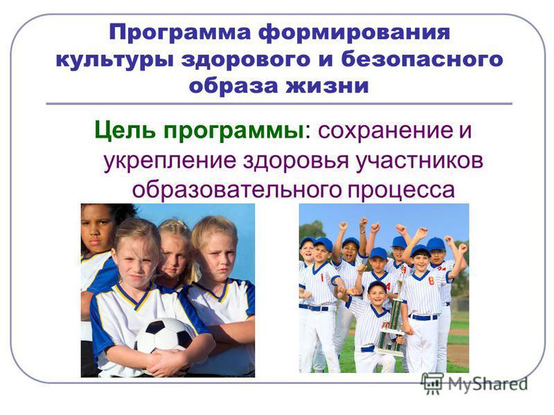 Программа формирования культуры здорового и безопасного образа жизни Цель программы: сохранение и укрепление здоровья участников образовательного процесса
