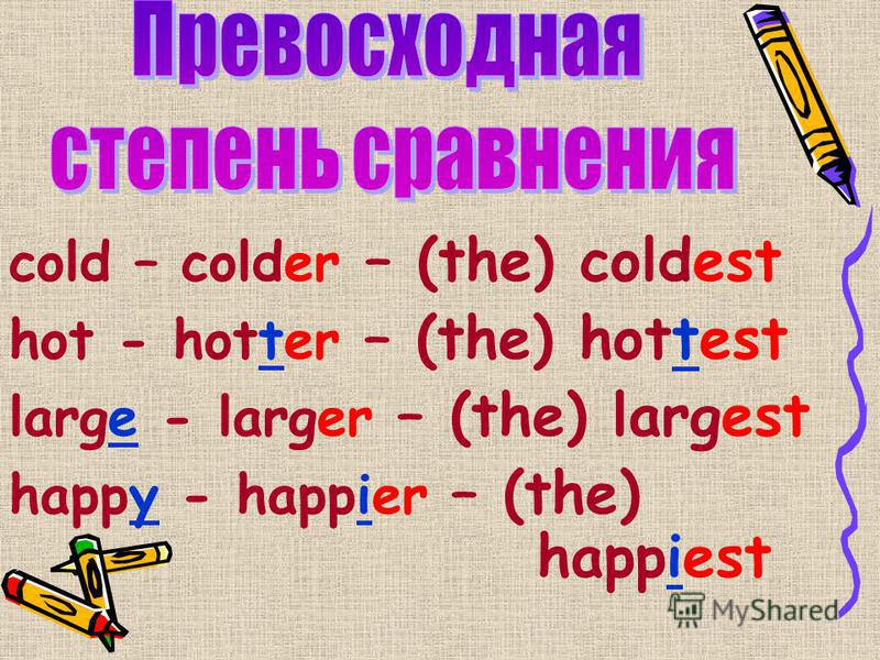 cold – colder – (the) coldest hot - hotter – (the) hottest large - larger – (the) largest happy - happier – (the) happiest
