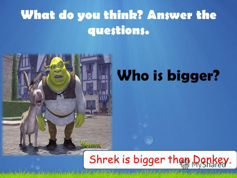 What do you think? Answer the questions. Who is bigger? Shrek is bigger than Donkey.