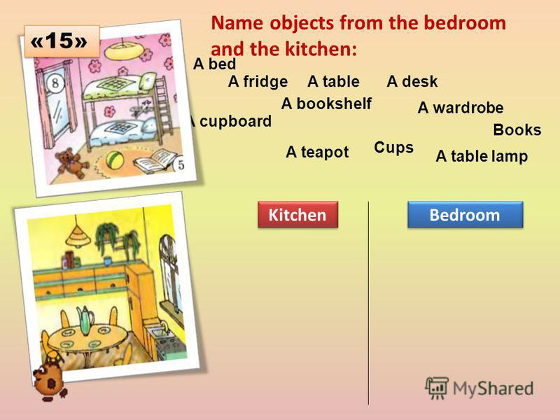 Name objects from the bedroom and the kitchen: A bed A fridgeA tableA desk A cupboard A bookshelf A wardrobe Books A teapot Cups A table lamp Kitchen Bedroom «15»
