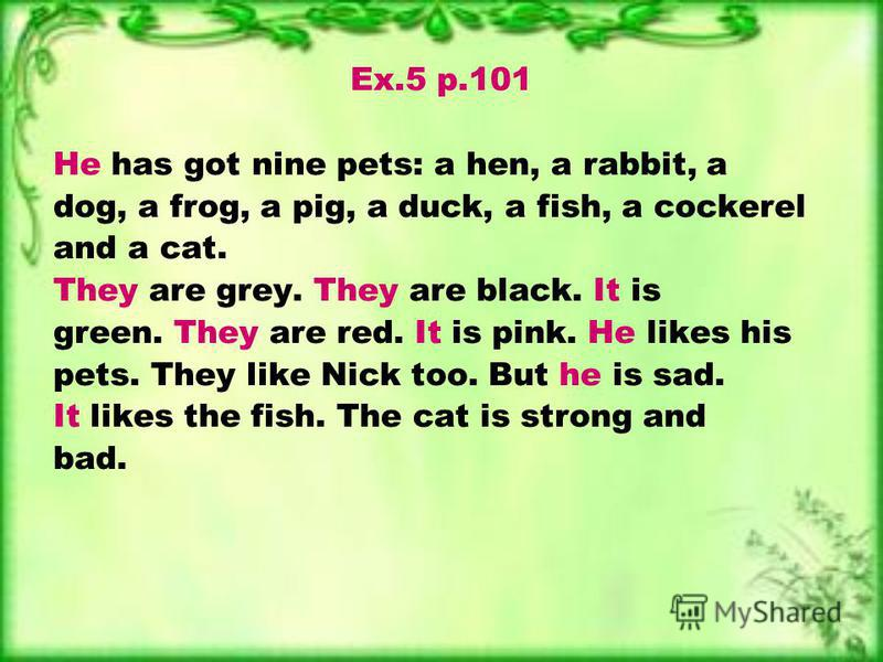 Ex.5 p.101 He has got nine pets: a hen, a rabbit, a dog, a frog, a pig, a duck, a fish, a cockerel and a cat. They are grey. They are black. It is green. They are red. It is pink. He likes his pets. They like Nick too. But he is sad. It likes the fis