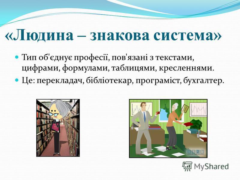 «Людина – знакова система» Тип об'єднує професії, пов'язані з текстами, цифрами, формулами, таблицями, кресленнями. Це: перекладач, бібліотекар, програміст, бухгалтер.