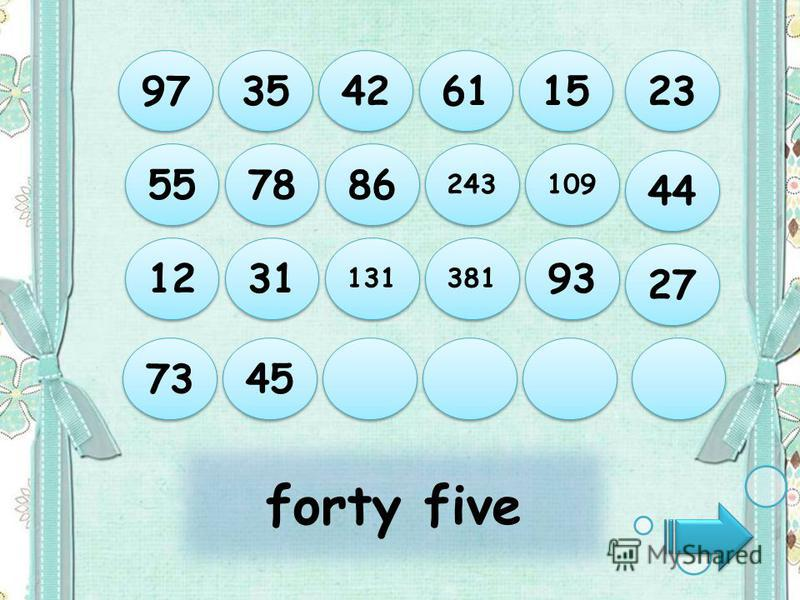 forty five 97 35 42 61 15 73 45 12 31 131 381 93 55 78 86 243 109 44 27 23